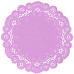 "Orchid bouquet color paper doilies available in the delicate French lace style and in sizes ranging from 4"" to 12"""