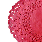 "Ribbon Red color paper doilies available in the Normandy style and in sizes ranging from 4"" to 16""."