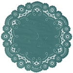 "Pacifica green color paper doilies available in the delicate French lace style and in sizes ranging from 4"" to 12"""