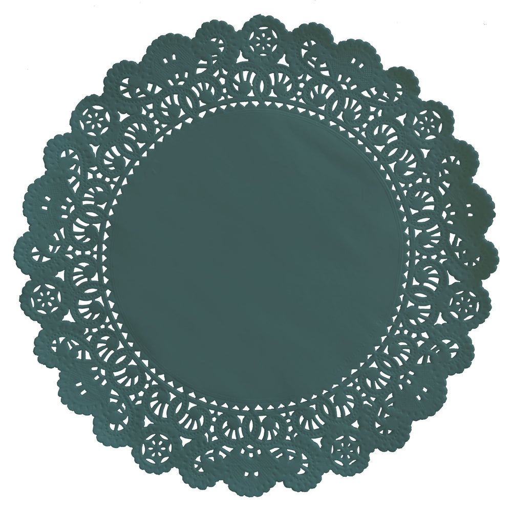 "Pacifica dark green color paper doilies available in the Normandy style and in sizes ranging from 4"" to 16"""