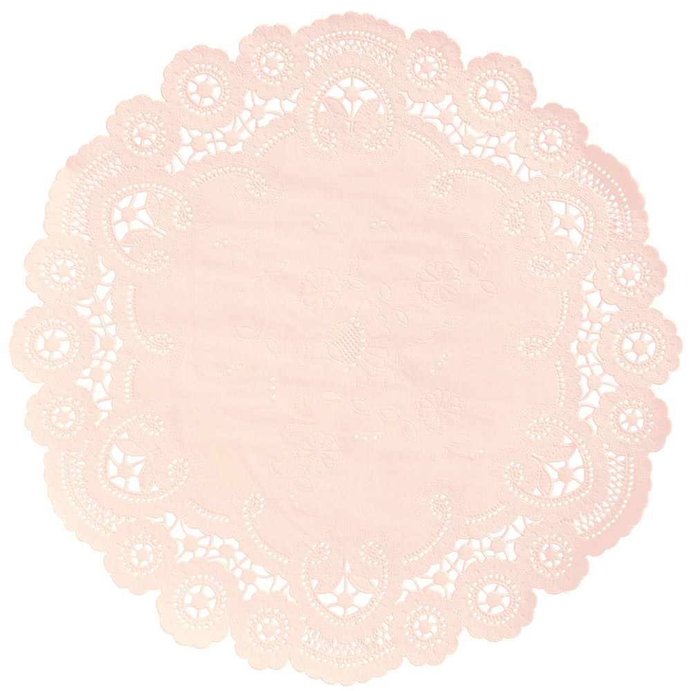 "Pale apricot color paper doilies available in the delicate French lace style and in sizes ranging from 4"" to 12"""