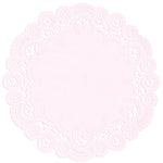 "Pale pink color paper doilies available in the delicate French lace style and in sizes ranging from 4"" to 12"""