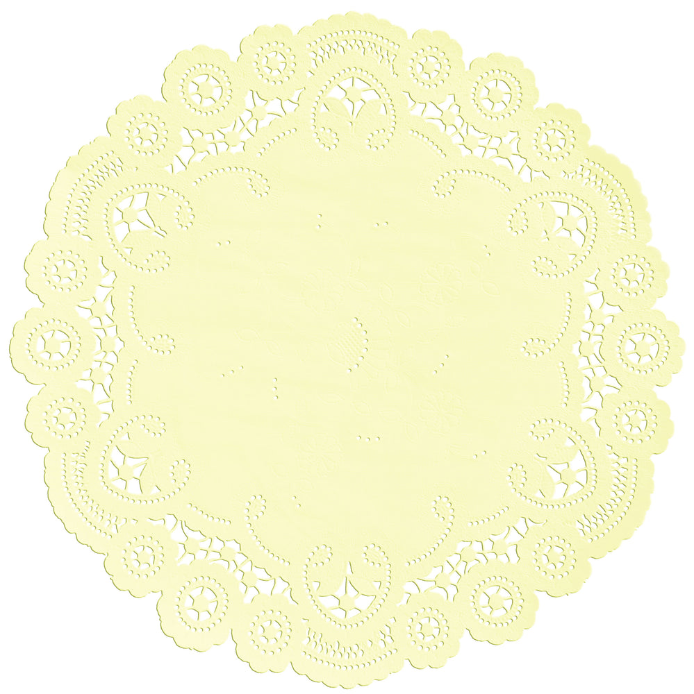 "Pale yellow color paper doilies available in the delicate French lace style and in sizes ranging from 4"" to 12"""