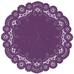 "Pansy color paper doilies available in the delicate French lace style and in sizes ranging from 4"" to 12"""