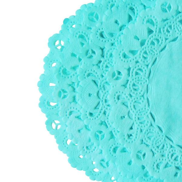 "Aruba Aqua Blue color paper doilies available in the Normandy style and in sizes ranging from 4"" to 16"""