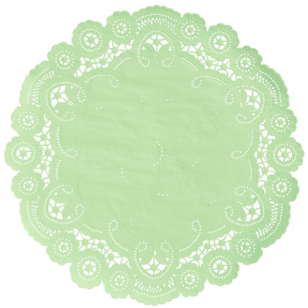 "Pastel green color paper doilies available in the delicate French lace style and in sizes ranging from 4"" to 12"""
