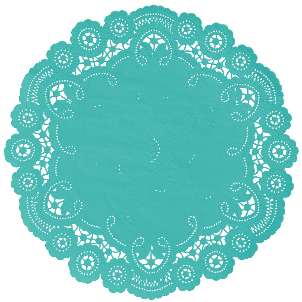 "Peacock color paper doilies available in the delicate French lace style and in sizes ranging from 4"" to 12"""