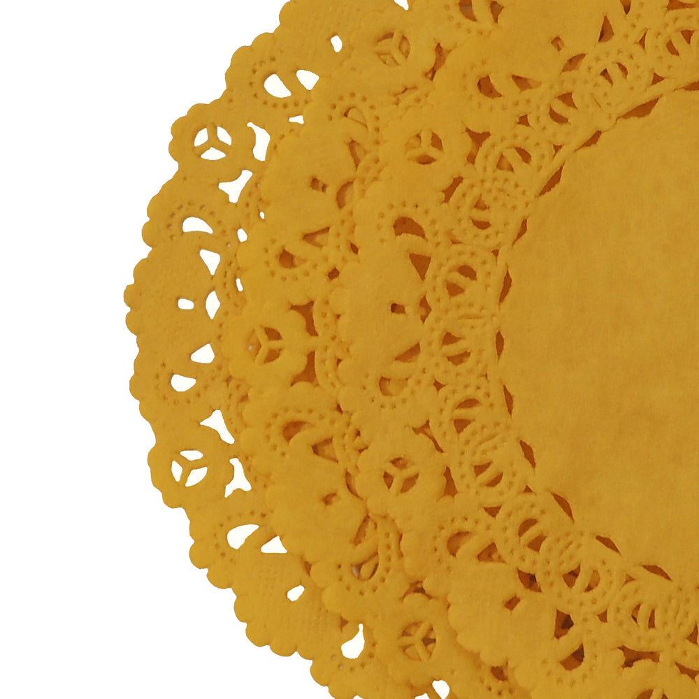 "Beeswax yellow gold paper doilies in sizes from 4"" to 16"""