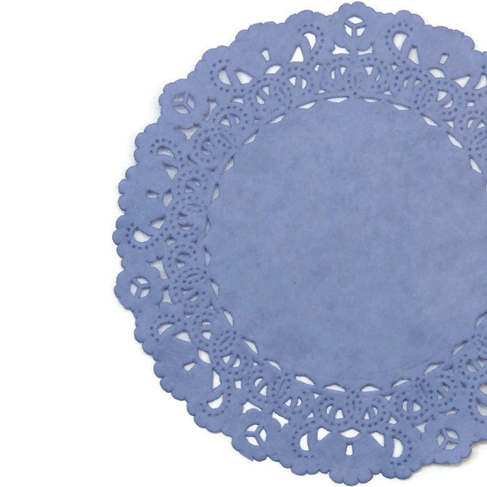 "Periwinkle Purple paper doilies in sizes from 4"" to 16"""