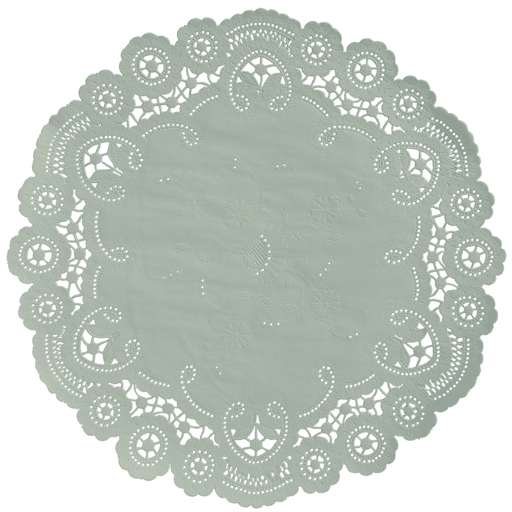 "Pewter color paper doilies available in the delicate French lace style and in sizes ranging from 4"" to 12"""