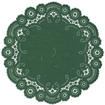 "Pine green color paper doilies available in the delicate French lace style and in sizes ranging from 4"" to 12"""