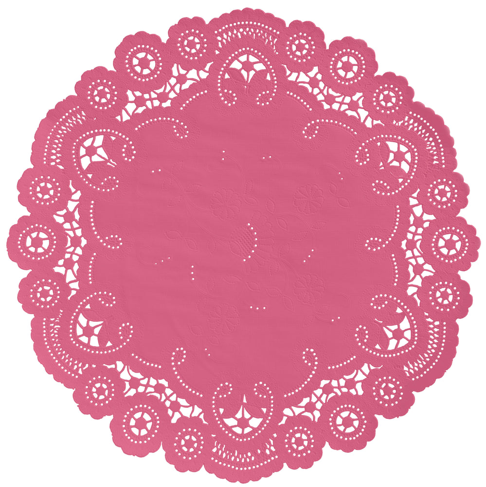 "Pink lipstick color paper doilies available in the delicate French lace style and in sizes ranging from 4"" to 12"""