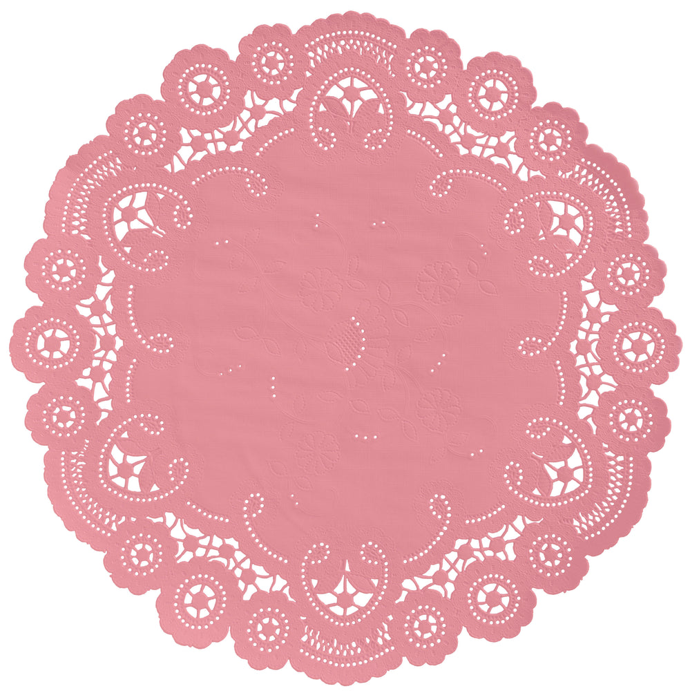 "Pink sherbert color paper doilies available in the delicate French lace style and in sizes ranging from 4"" to 12"""
