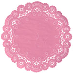 "Pink taffy color paper doilies available in the delicate French lace style and in sizes ranging from 4"" to 12"""