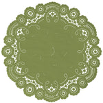 "Pistachio color paper doilies available in the delicate French lace style and in sizes ranging from 4"" to 12"""