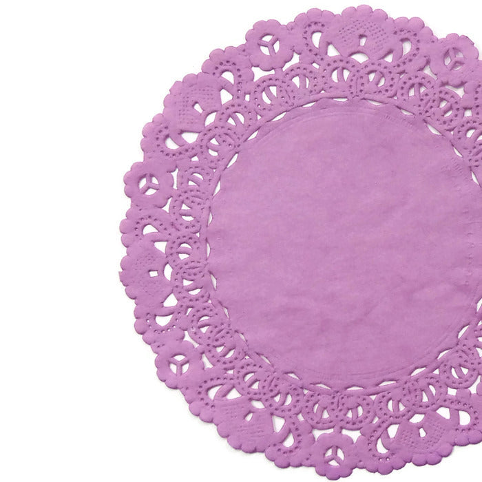 "PLUM BLOSSOM PURPLE Round Paper Doilies | Normandy | Chargers, Placemats, Invitations | 4"", 5"", 6"" 8"", 10"", 12"", 14"", 16"""