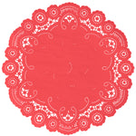 "Poppy color paper doilies available in the delicate French lace style and in sizes ranging from 4"" to 12"""