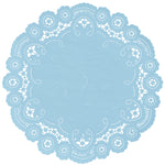 "Powder blue color paper doilies available in the delicate French lace style and in sizes ranging from 4"" to 12"""