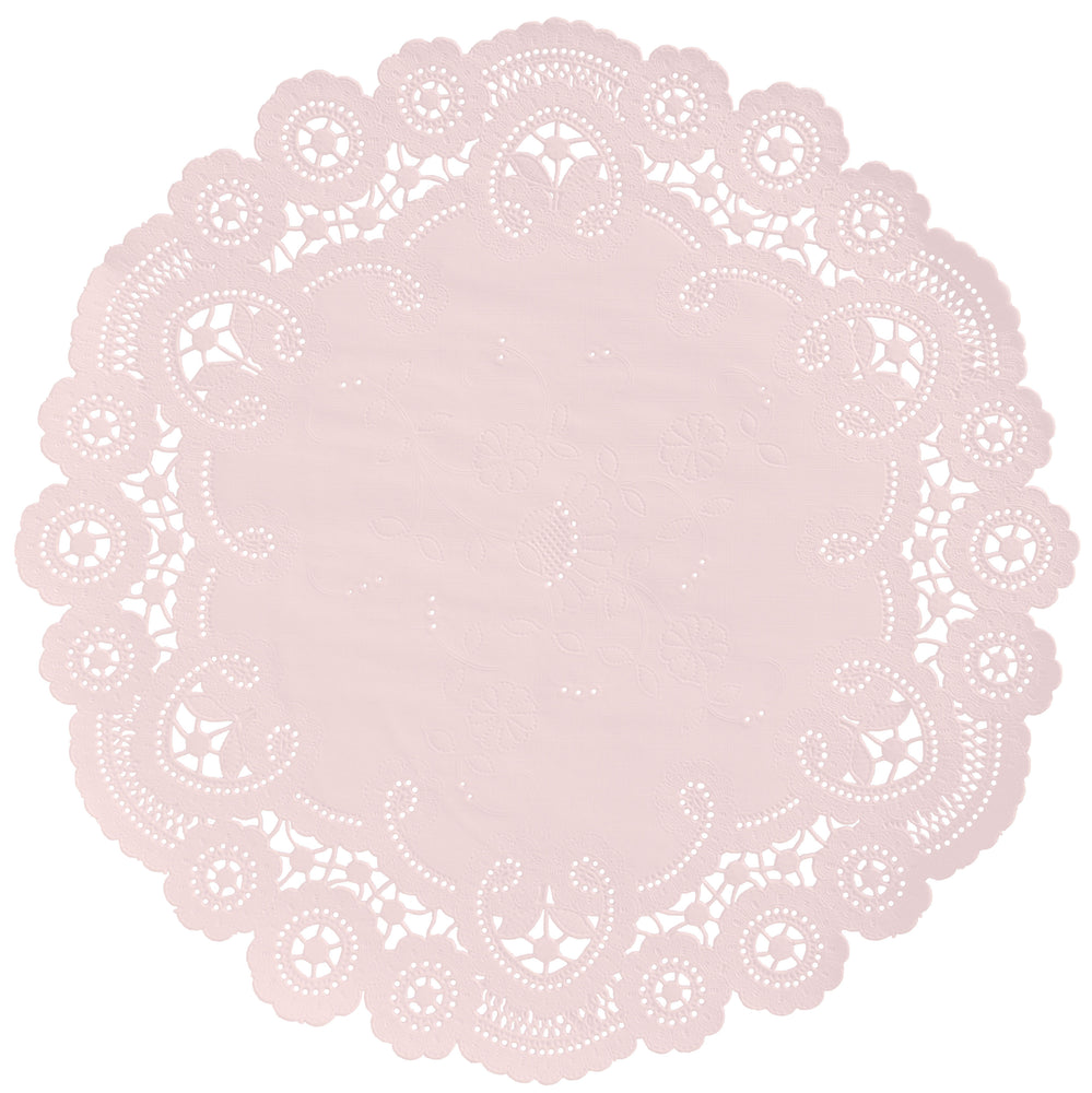 "Powder pink color paper doilies available in the delicate French lace style and in sizes ranging from 4"" to 12"""