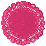 "Punch pink color paper doilies available in the delicate French lace style and in sizes ranging from 4"" to 12"""