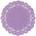 "Purple rose color paper doilies available in the delicate French lace style and in sizes ranging from 4"" to 12"""