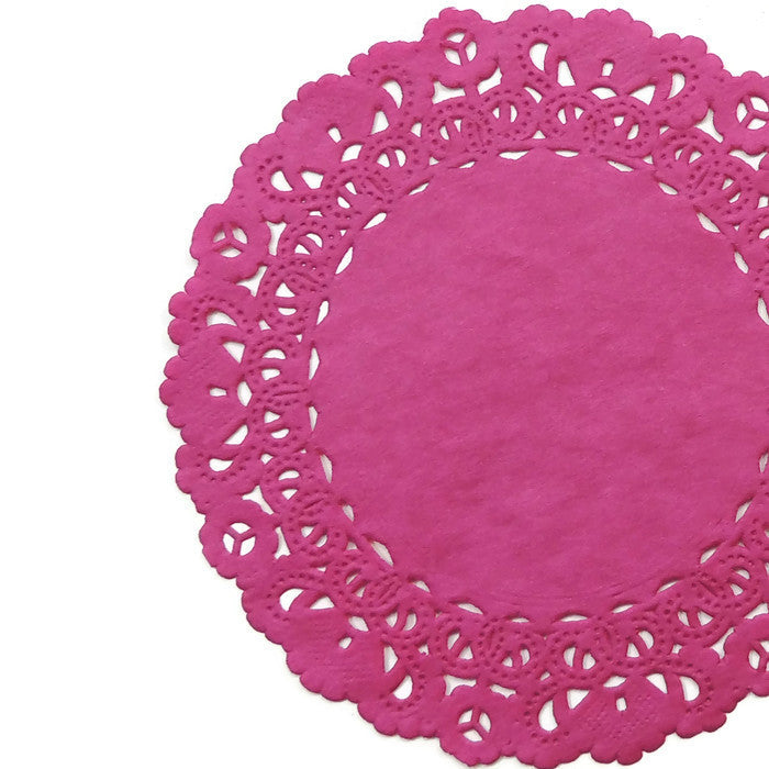 "RAZZLE PINK Round Paper Doilies | Normandy | Chargers, Placemats, Invitations | 4"", 5"", 6"" 8"", 10"", 12"", 14"", 16"""