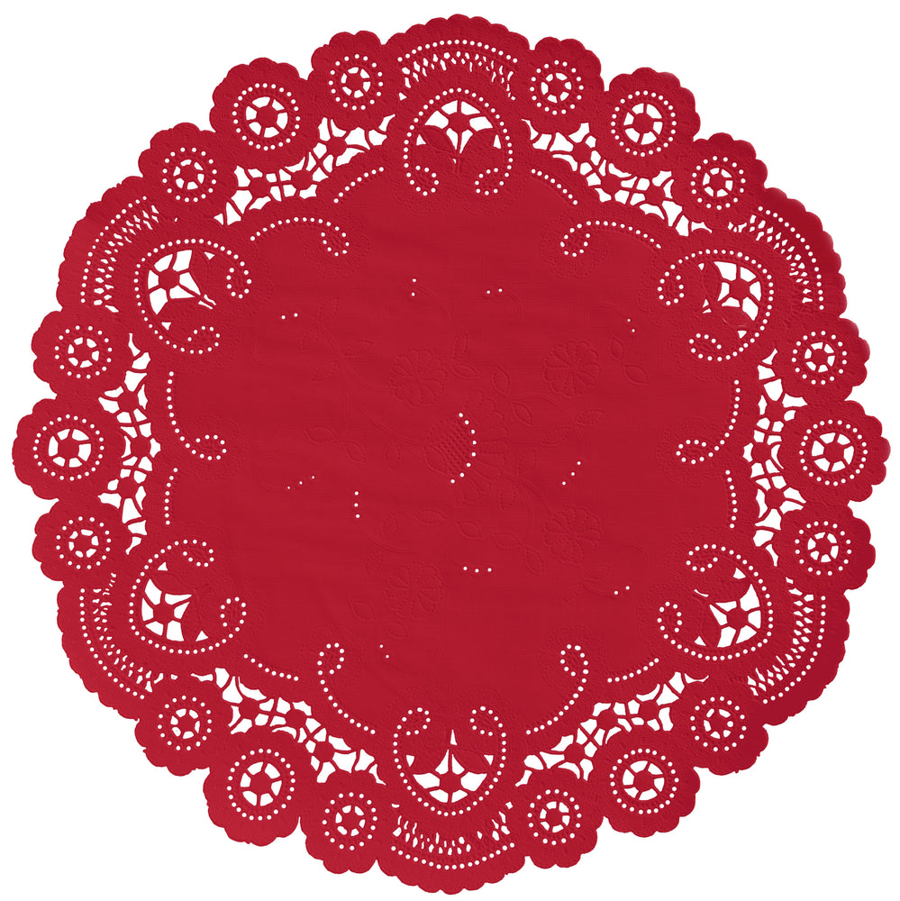 "Red color paper doilies available in the delicate French lace style and in sizes ranging from 4"" to 12"""