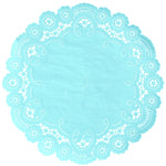 "Robin egg color paper doilies available in the delicate French lace style and in sizes ranging from 4"" to 12"""