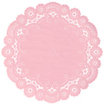 "Rosebud color paper doilies available in the delicate French lace style and in sizes ranging from 4"" to 12"""