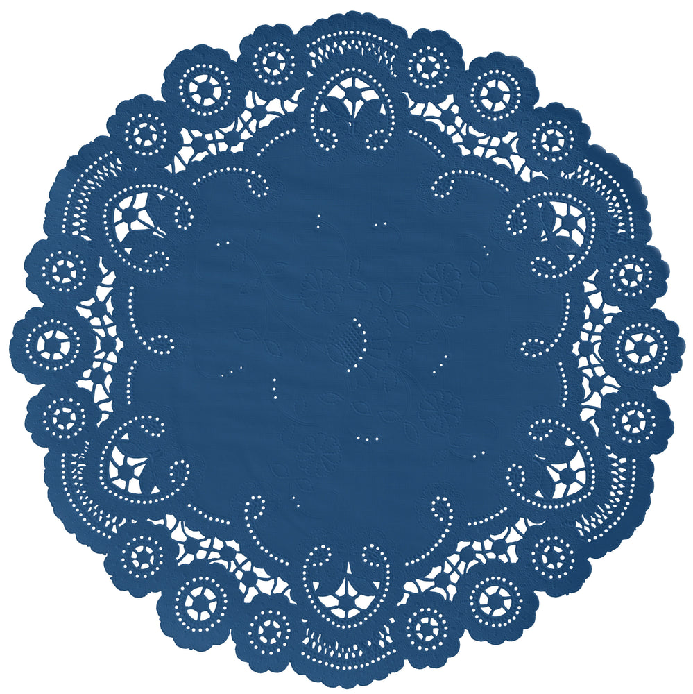 "Royal blue color paper doilies available in the delicate French lace style and in sizes ranging from 4"" to 12"""