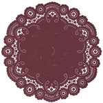 "Ruby wine color paper doilies available in the delicate French lace style and in sizes ranging from 4"" to 12"""