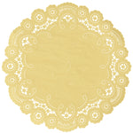 "Saffron color paper doilies available in the delicate French lace style and in sizes ranging from 4"" to 12"""