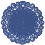 "Sapphire color paper doilies available in the delicate French lace style and in sizes ranging from 4"" to 12"""