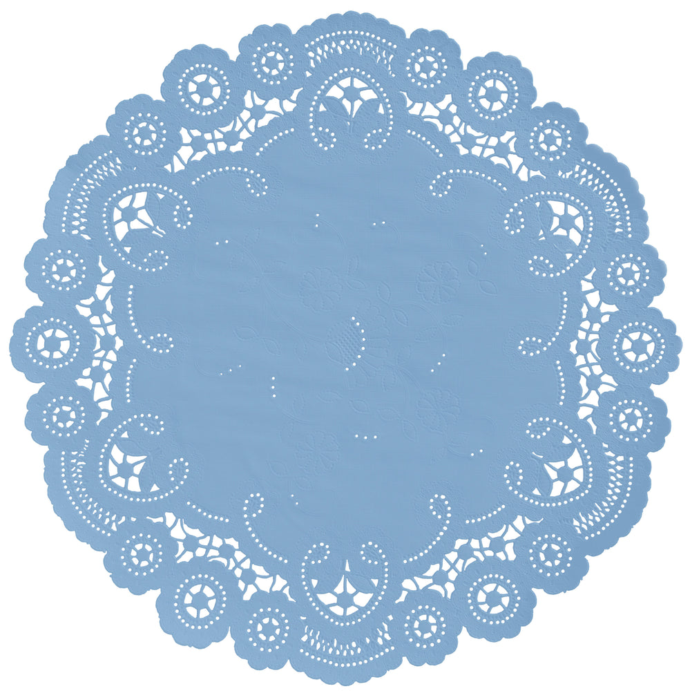 "Serenity blue color paper doilies available in the delicate French lace style and in sizes ranging from 4"" to 12"""