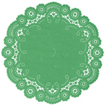 "Shamrock color paper doilies available in the delicate French lace style and in sizes ranging from 4"" to 12"""