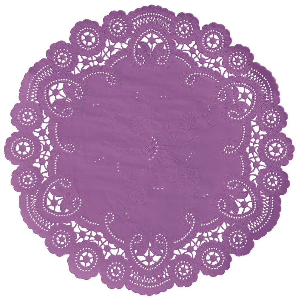 "Sheer lilac color paper doilies available in the delicate French lace style and in sizes ranging from 4"" to 12"""