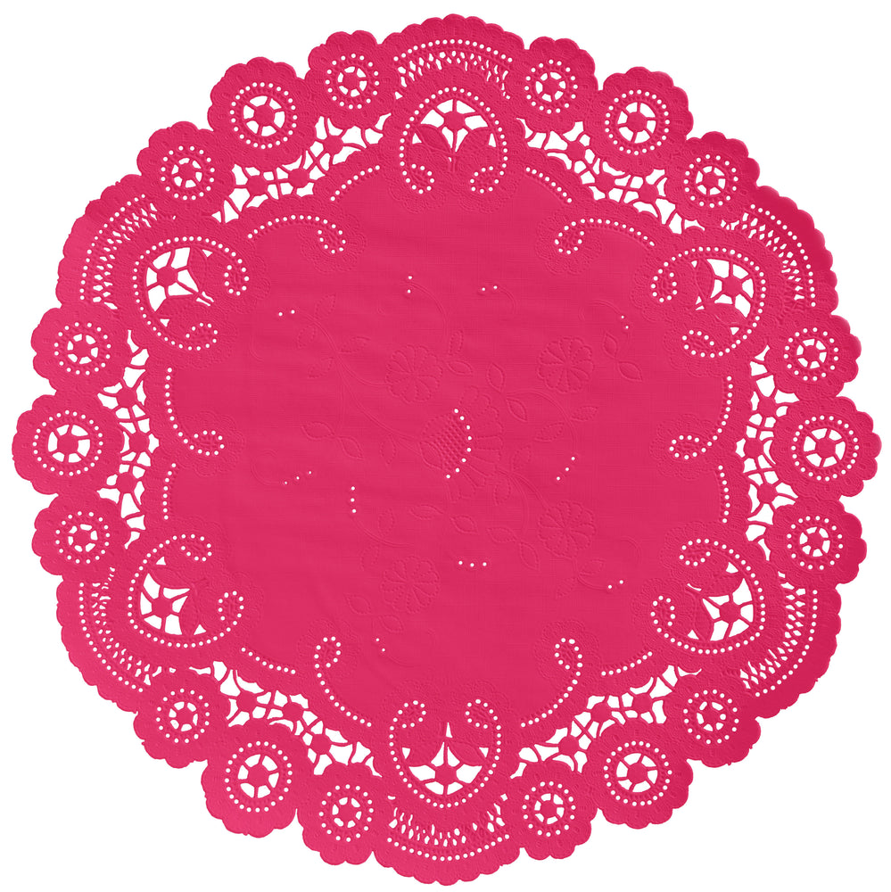 SHOCKING PINK French Lace Doilies