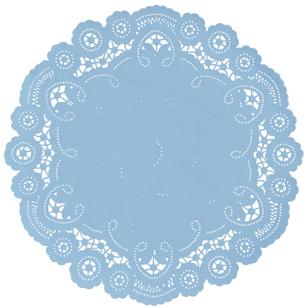 "Sky blue color paper doilies available in the delicate French lace style and in sizes ranging from 4"" to 12"""