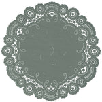 "Slate green color paper doilies available in the delicate French lace style and in sizes ranging from 4"" to 12"""
