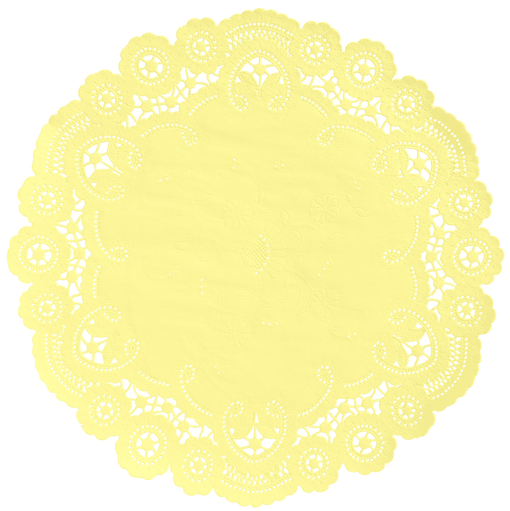 "Soft yellow color paper doilies available in the delicate French lace style and in sizes ranging from 4"" to 12"""