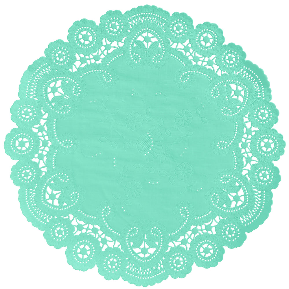 "Spa green color paper doilies available in the delicate French lace style and in sizes ranging from 4"" to 12"""