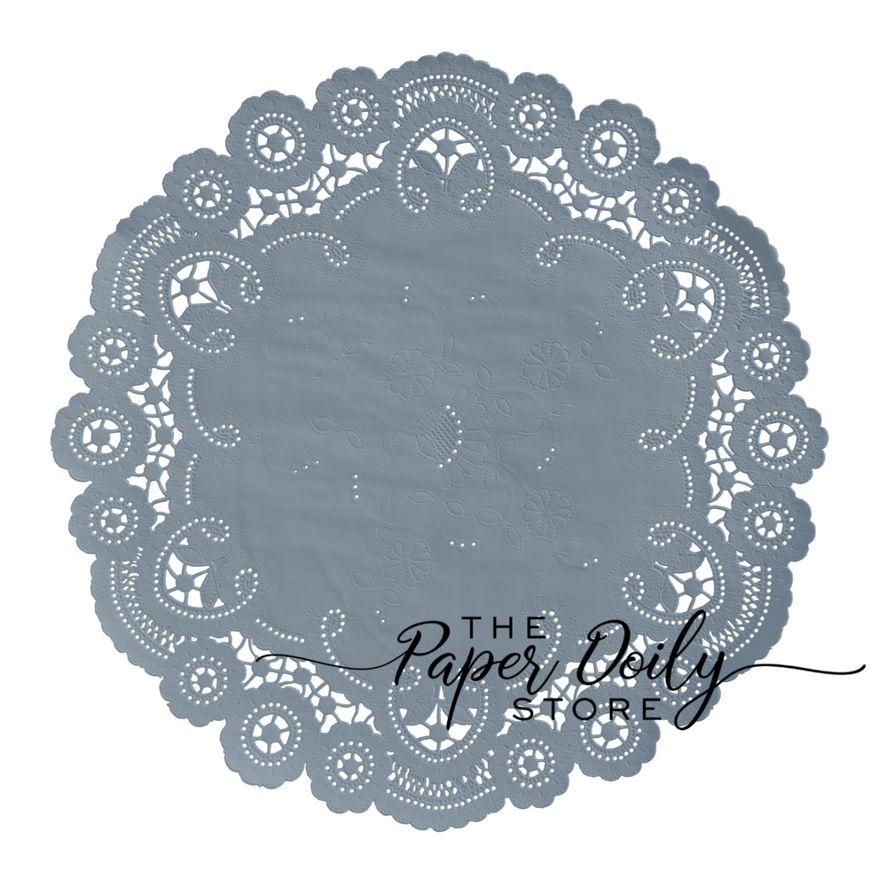 Steel blue paper doilies in lacy french style
