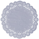 "Storm gray color paper doilies available in the delicate French lace style and in sizes ranging from 4"" to 12"""