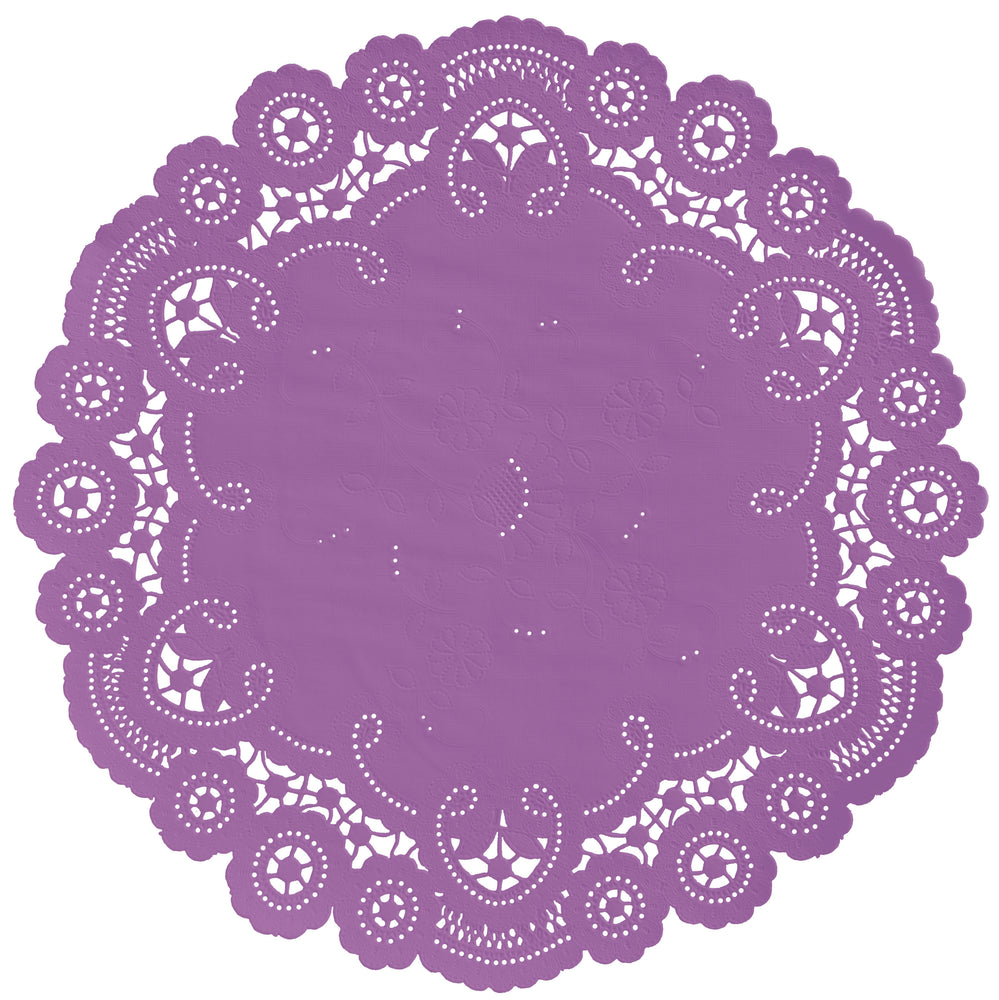 "Sugar plum color paper doilies available in the delicate French lace style and in sizes ranging from 4"" to 12"""