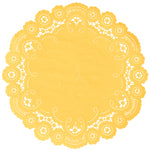 "Sunset yellow color paper doilies available in the delicate French lace style and in sizes ranging from 4"" to 12"""