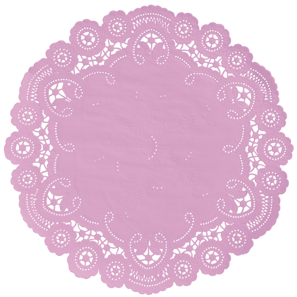 "Sweet pea color paper doilies available in the delicate French lace style and in sizes ranging from 4"" to 12"""