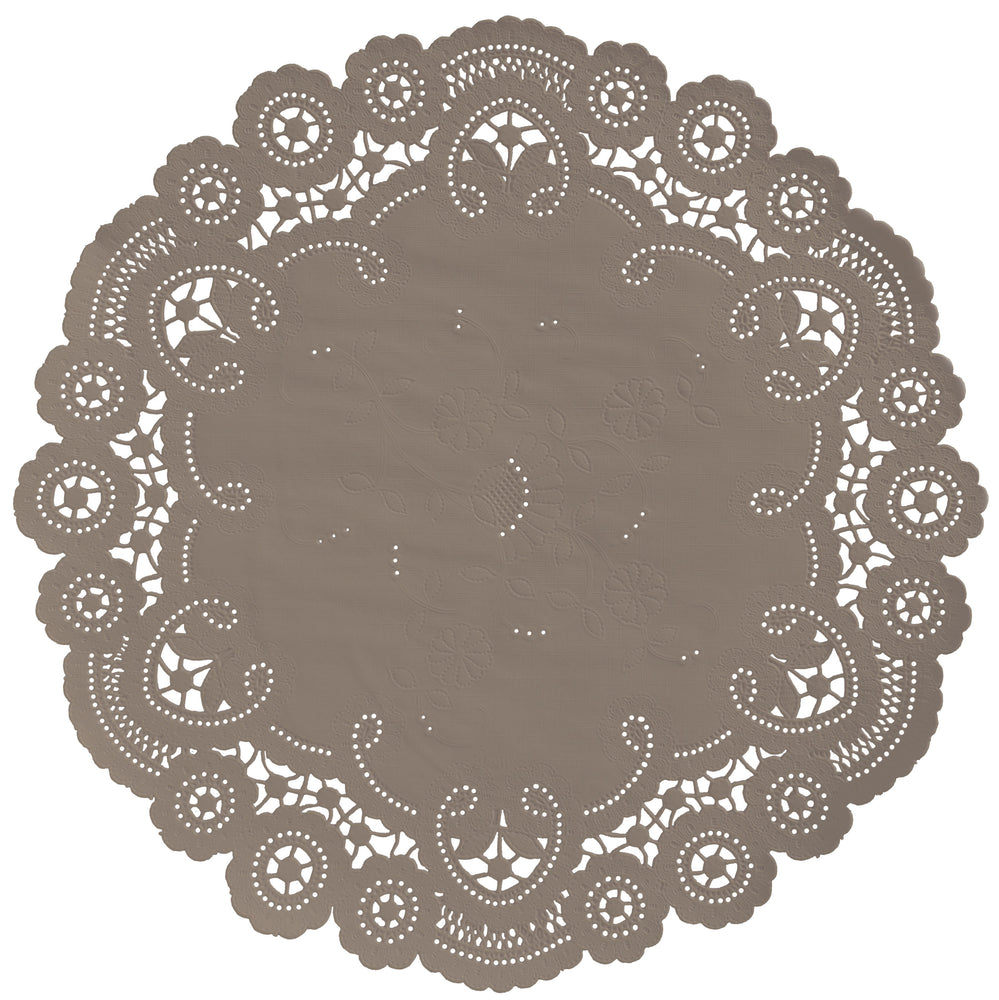 "Taupe color paper doilies available in the delicate French lace style and in sizes ranging from 4"" to 12"""