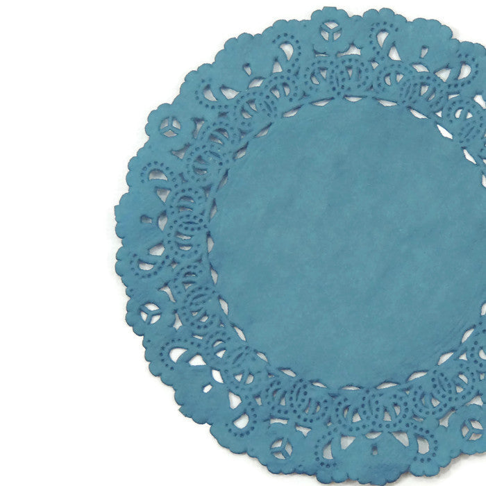 "Teal color doily available in 4"" to 16"" sizes"