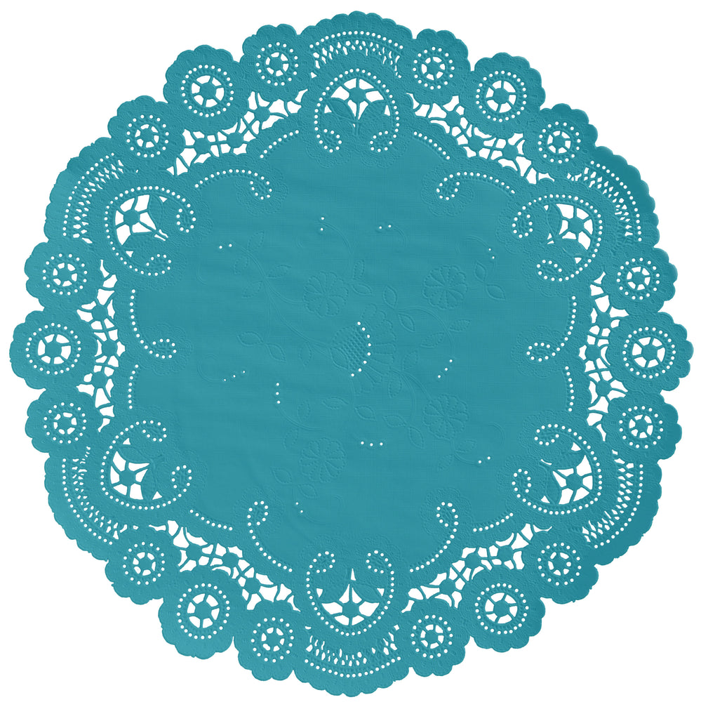 "Teal Ocean color paper doilies available in the delicate French lace style and in sizes ranging from 4"" to 12"""