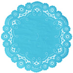 "Turquoise color paper doilies available in the delicate French lace style and in sizes ranging from 4"" to 12"""